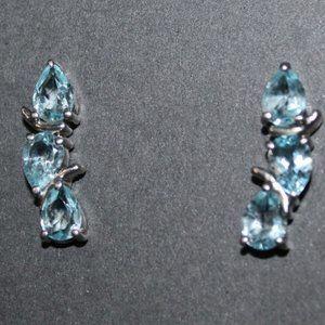 925 Genuine Blue Topaz Crawler Style Earrings